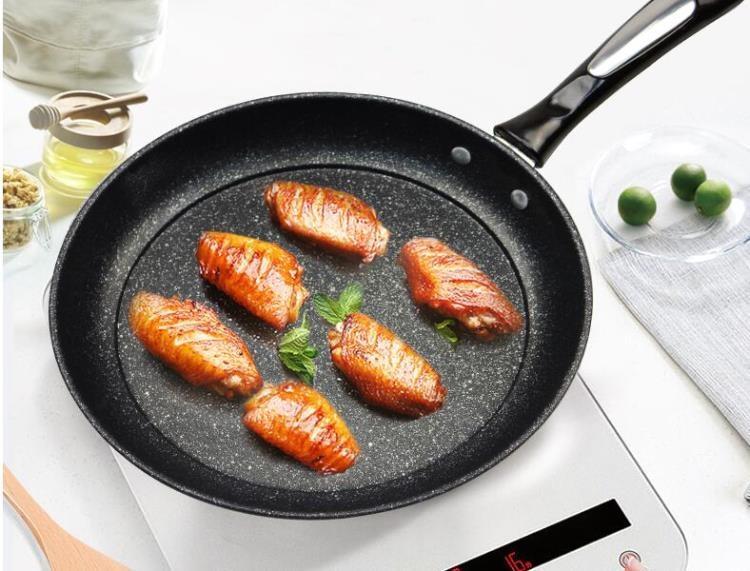 麥飯石平底鍋不粘鍋牛排煎鍋烙餅鍋家用煎炒兩用電磁爐專用早餐鍋