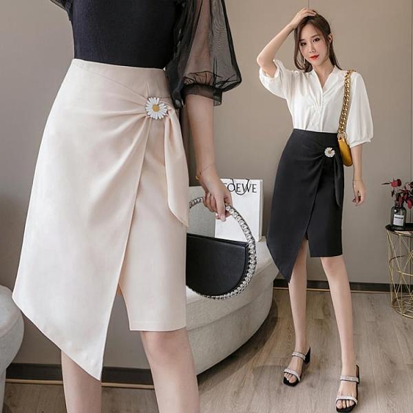 高腰半身裙韓版S-XL設計感高腰通勤裙子夏季新款包臀職業半身裙T401H紅粉佳人