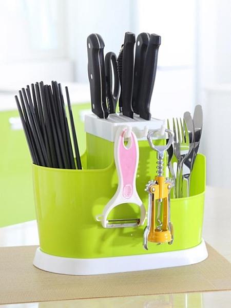 多功能家用插放廚房用品收納置物架菜刀架刀架筷籠一體筷筒