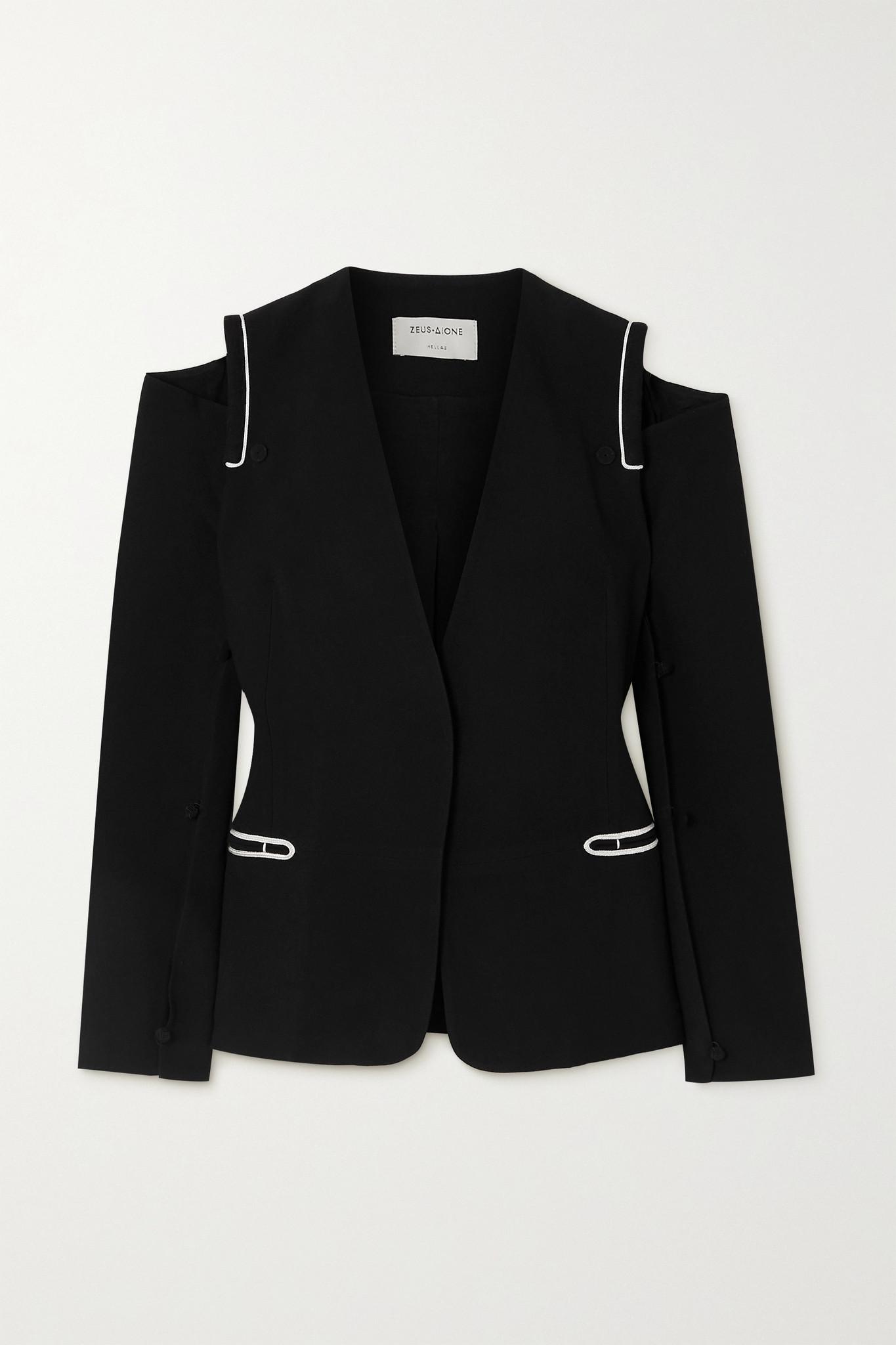 ZEUS + DIONE - Mystras Convertible Cold-shoulder Crepe Blazer - Black - FR36