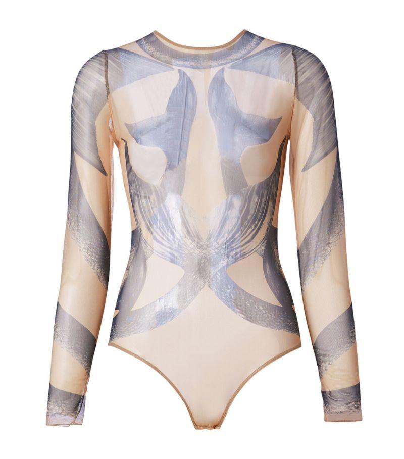 Burberry Mermaid Print Sheer Bodysuit