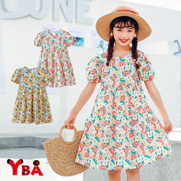 【YBA童裝】韓版棉質碎花後綁繩短袖連衣裙03/16(粉/黃)【K75072】[預購]