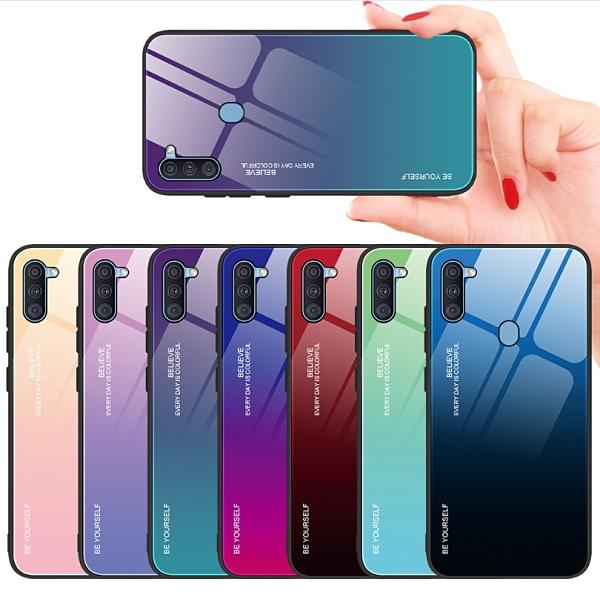 三星系列S20 FE 5G玻璃保護套 S21定制A42 5G防摔漸變色A52 5G手機殼A72 5G