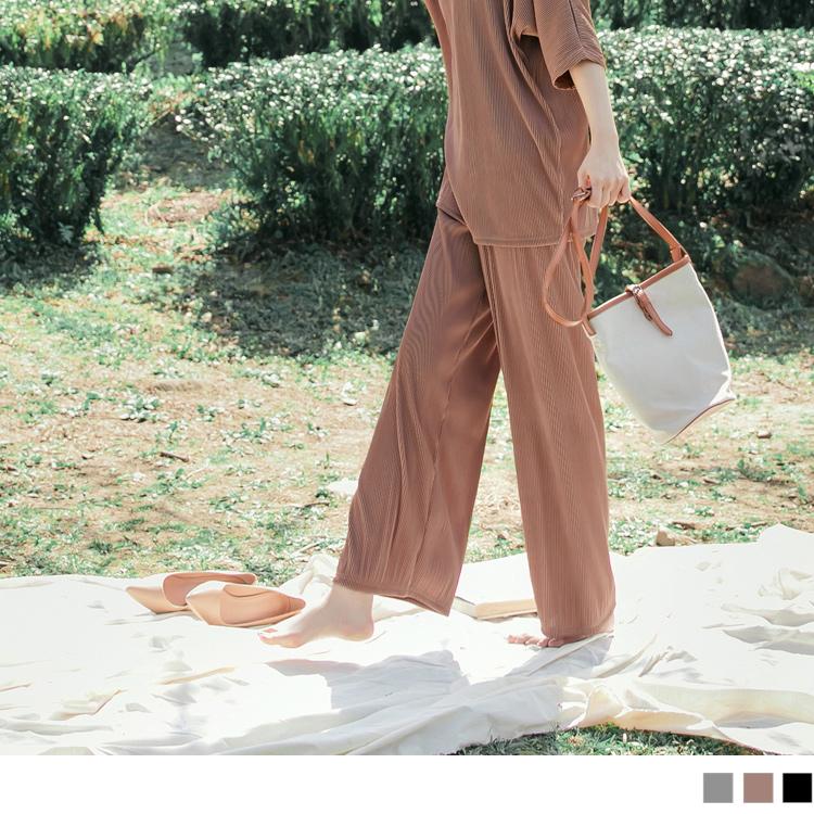 寬鬆壓褶涼爽質感休閒長寬褲