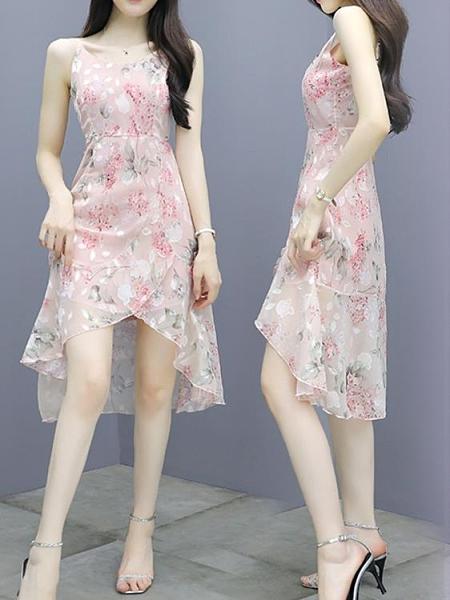 碎花洋裝 雪紡吊帶碎花連身裙女夏裝2021年夏季新款荷葉邊顯瘦氣質仙女裙子  夏季新品