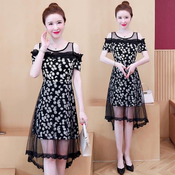 洋裝連身裙 L-5XL大碼連身裙夏季新款韓版胖mm200斤網紗拼接連身裙六色NB30-1.胖丫