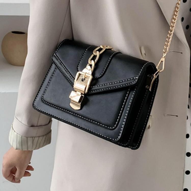 小方包 包包女2021新款流行時尚純色鎖扣百搭側背斜背撞色小方包 果果輕時尚