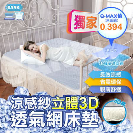 日本SANKi 涼感紗立體3D透氣網床墊單人 (105*186)