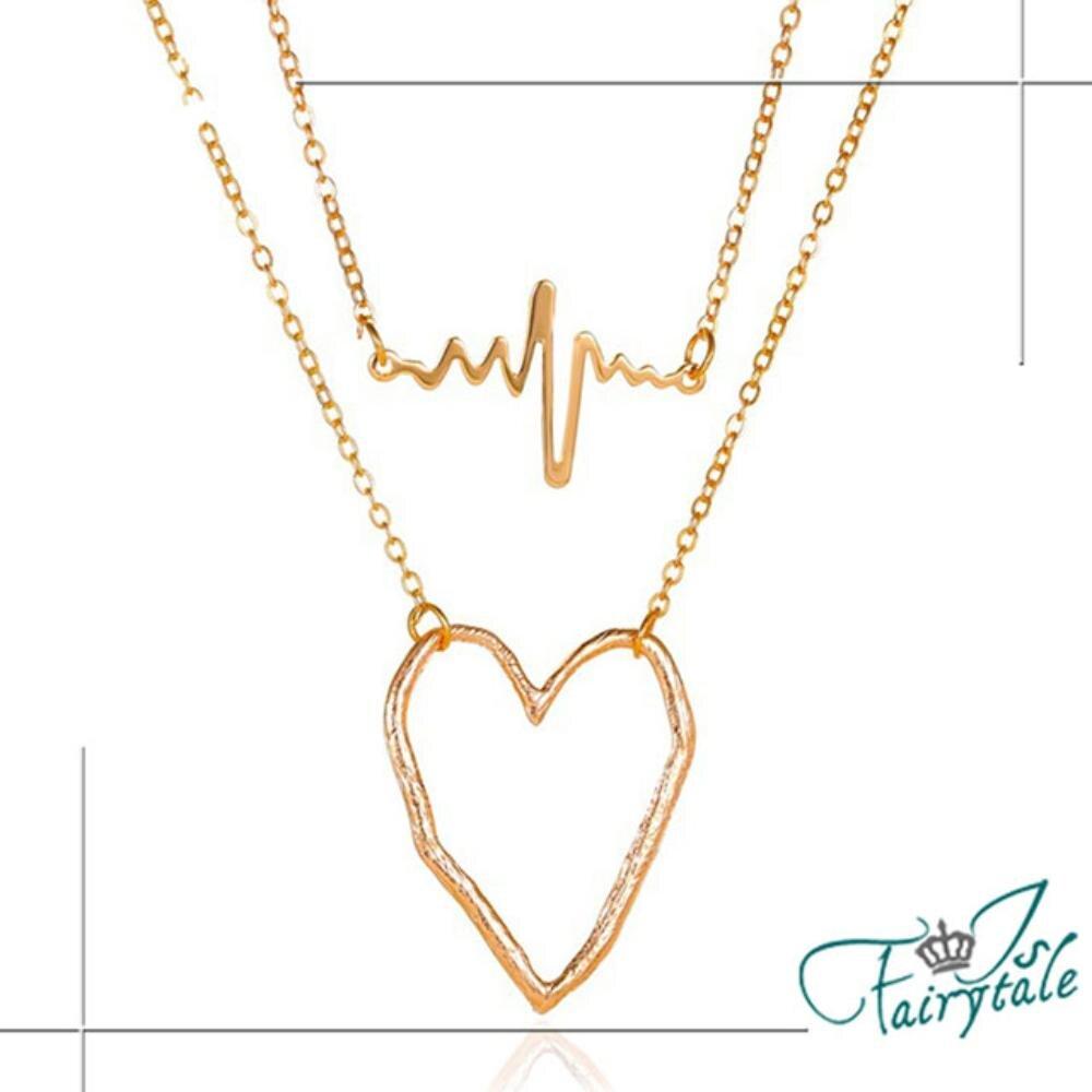 【伊飾童話】愛情心電圖*韓風雙層鏤空項鍊/金