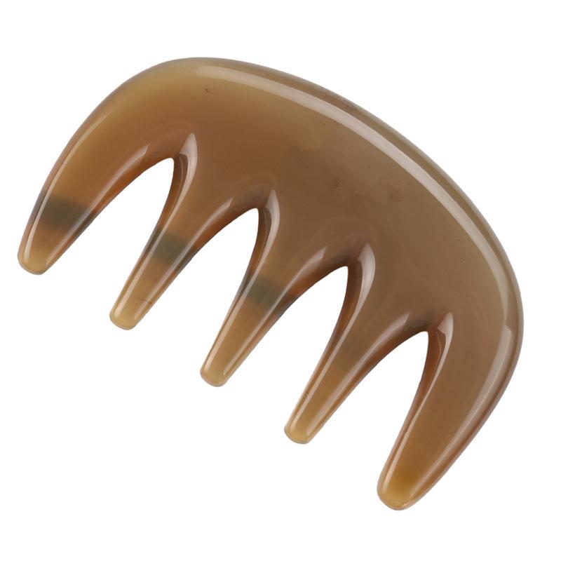 【23-68】【耗牛角五齒梳】 天然牛角 穴道按摩 撥經絡 頭部按摩
