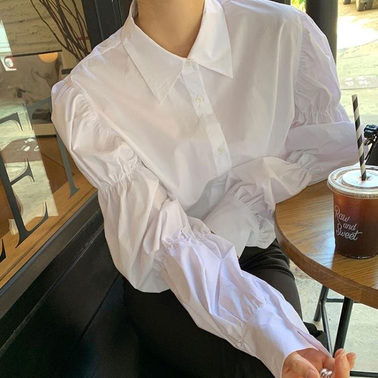 泡泡袖上衣 韓國chic秋季小眾鬆緊設計感減齡泡泡袖翻領單排扣長袖襯衫女上衣 果果輕時尚