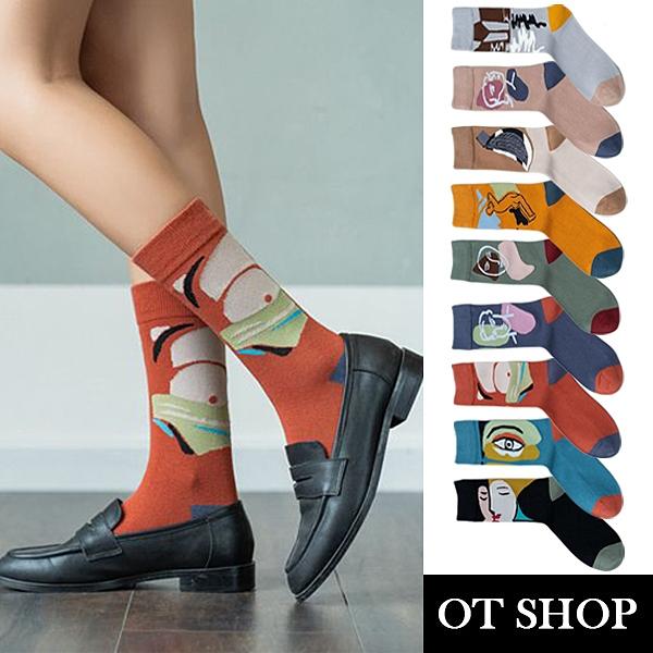 OT SHOP [現貨] 襪子 中筒襪 運動襪 女款 棉質 刺繡塗鴉 街頭風格 潮流個性 復古文青配件 多色 M1109