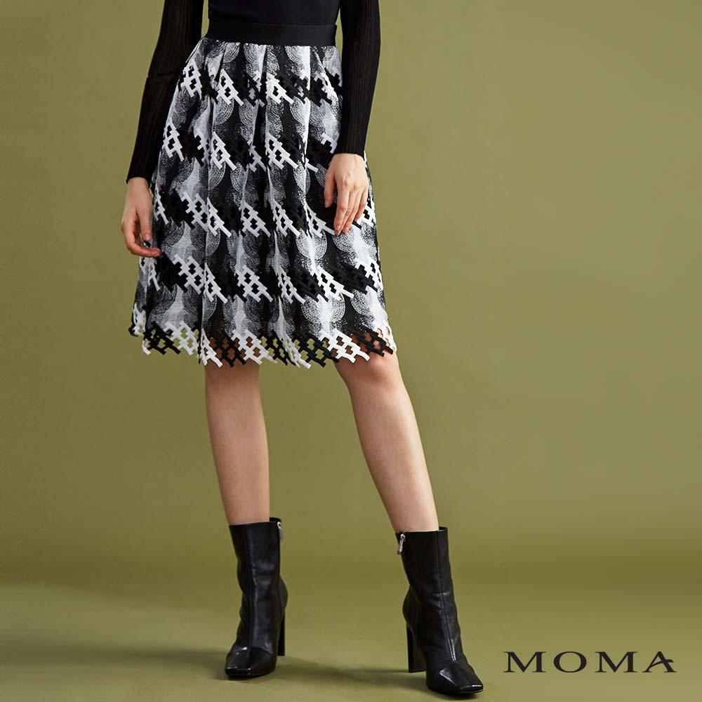 MOMA(01S055)打褶織紋蕾絲裙