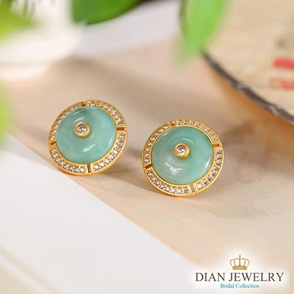 【DIAN 黛恩珠寶】翡翠平安扣 純銀造型耳環 (YH85759)