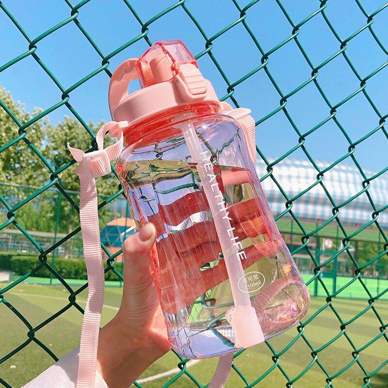 運動水杯 水杯女大號超大容量帶吸管塑料杯便攜戶外運動耐高溫壺杯子2000ml 【CM1080】