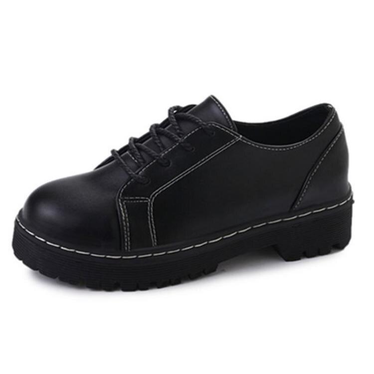 小皮鞋 英倫風復古學生鞋2021春秋新款女鞋休閒百搭原宿單鞋黑色小皮鞋潮 果果輕時尚