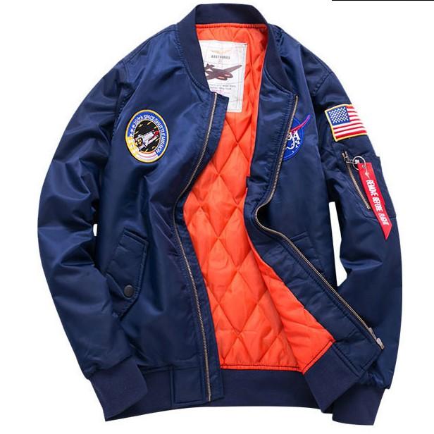 TAIJI NASA太空質感刺繡貼章內裡菱格鋪棉MA-1飛行外套.加大尺寸【最新潮流.台灣出貨】【NTJBYZ8809】