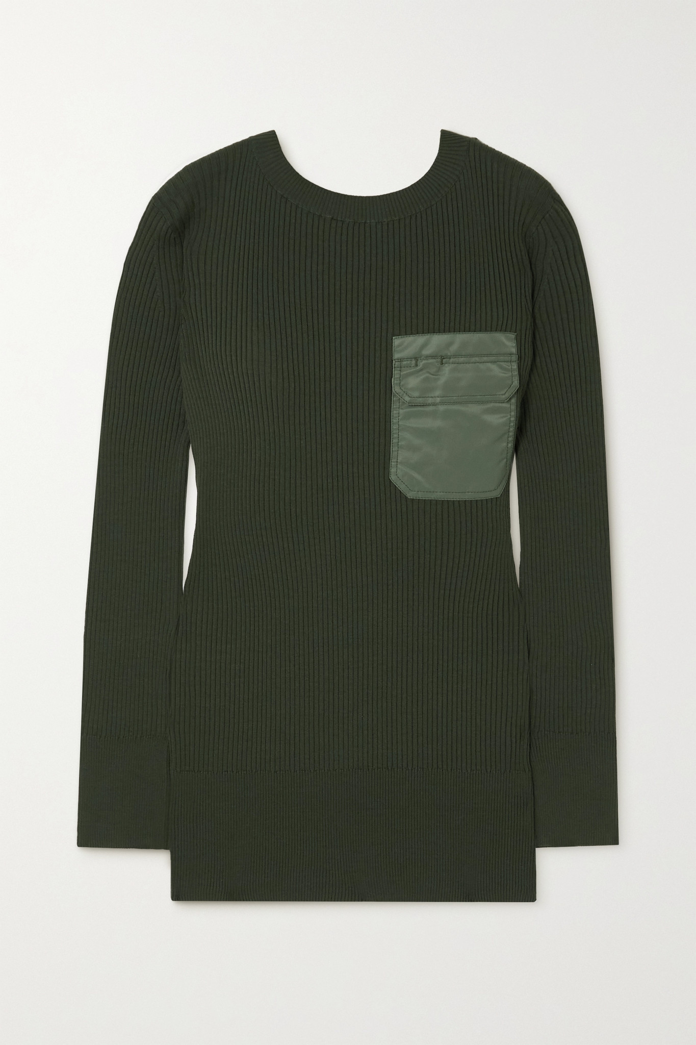 SACAI - Shell-trimmed Ribbed Cotton And Silk-blend Mini Dress - Green - 4