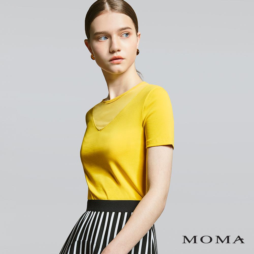 MOMA(01M058)V形網布剪接上衣