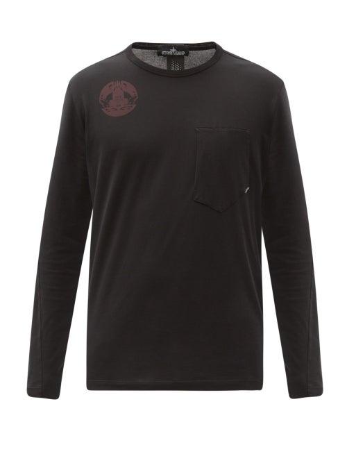 Stone Island Shadow Project - Logo-print Long-sleeve Cotton-jersey T-shirt - Mens - Black