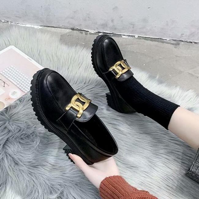 FOFU-(任2雙788)學院風時尚裝飾松糕底中跟皮鞋【02S13647】