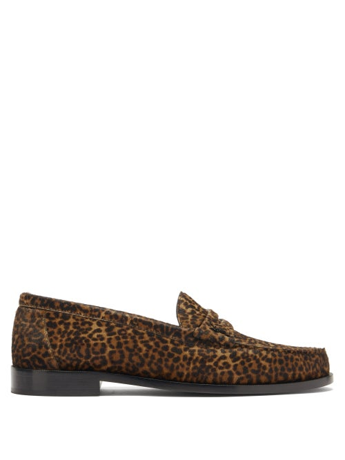 Saint Laurent - Leopard-print Calf Hair Penny Loafers - Mens - Tan