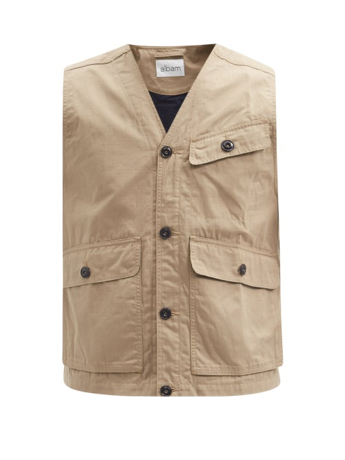 Albam - Flight Cotton-ripstop Gilet - Mens - Beige