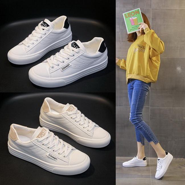 FOFU-(任2雙888)簡約百搭經典綁帶平底平跟小白鞋【02S13684】