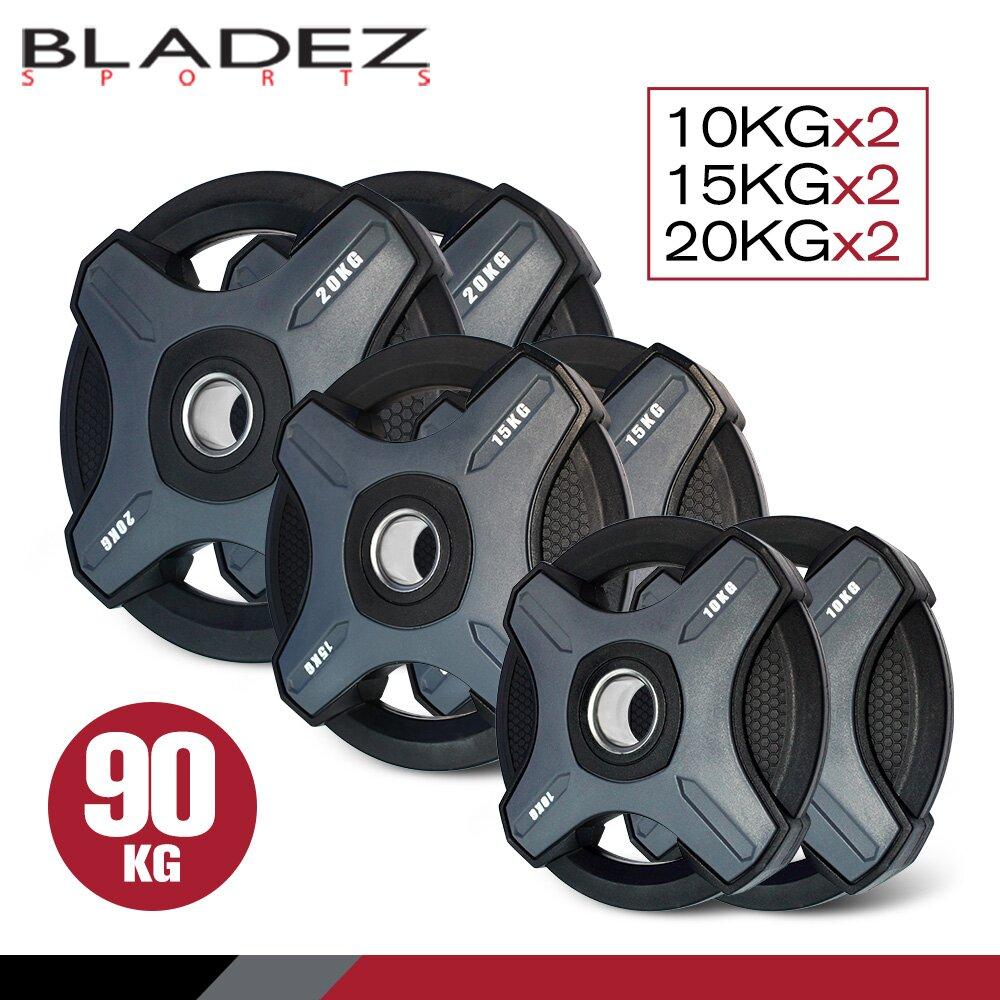 【BLADEZ】OP1-PU灰色奧林匹克包膠槓片-90KG組(10KG*2/15KG*2/20KG*2)