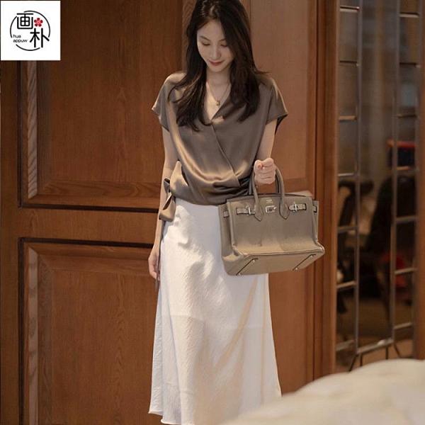 短袖 畫樸繫帶純色拼接襯衫女裝夏季V領寬鬆短袖時尚氣質顯瘦上衣