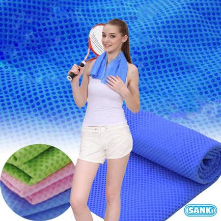 SANKI 冰涼毛巾2入 (藍色+粉紅色)、(藍色+綠色)