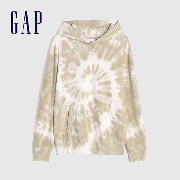 Gap男裝 碳素軟磨系列 法式圈織個性紮染連帽休閒上衣 683858-紮染