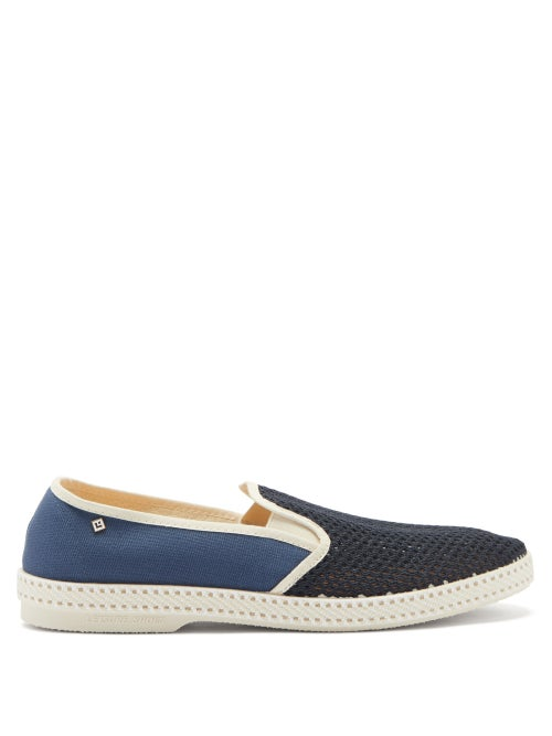 Rivieras - Classic Match Tour Du Monde Canvas Loafers - Mens - Blue Multi