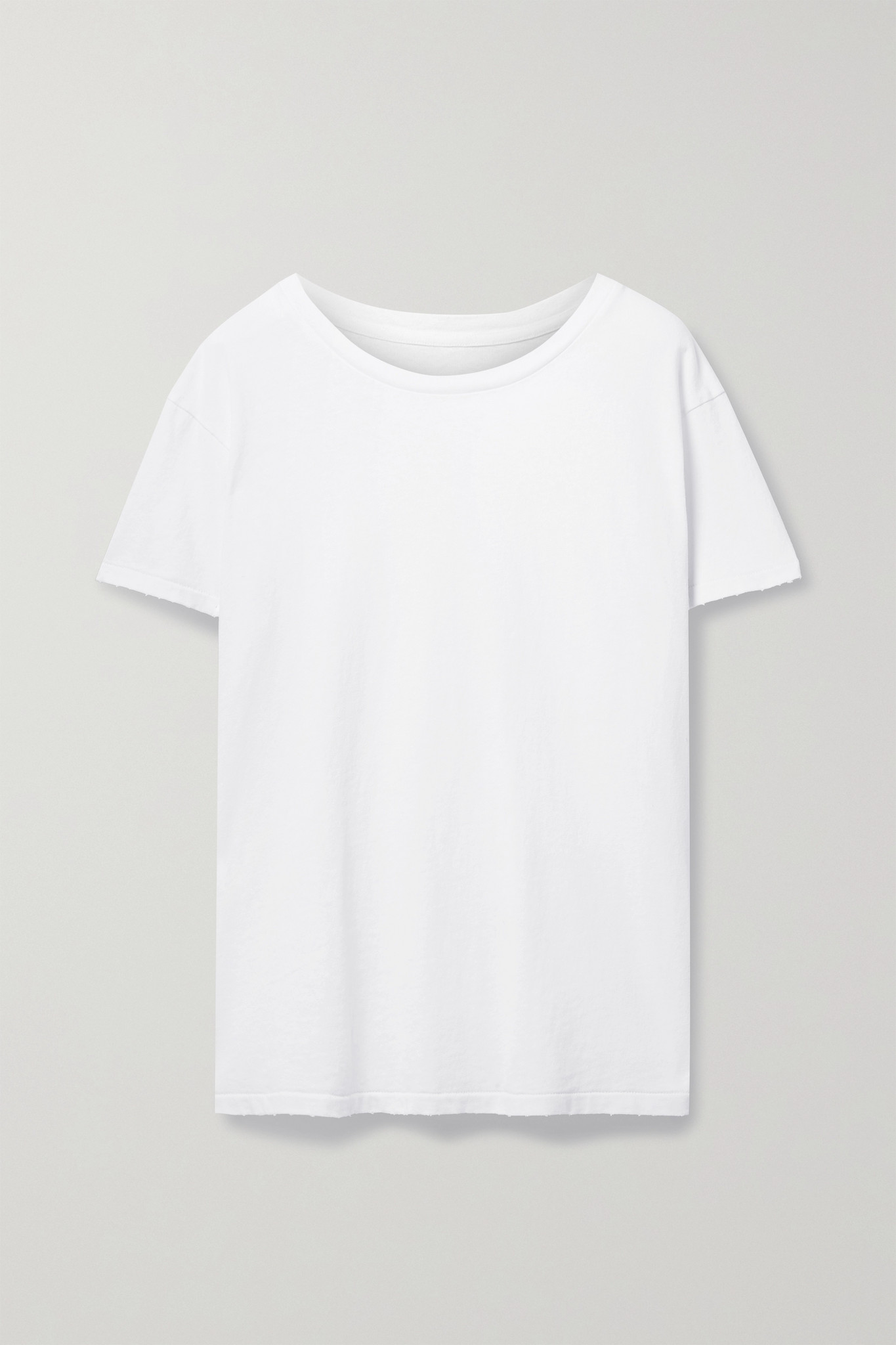 NILI LOTAN - Brady 仿旧纯棉平纹布 T 恤 - 白色 - x small