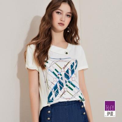 ILEY伊蕾 絲巾印花造型領上衣(白)1212071205