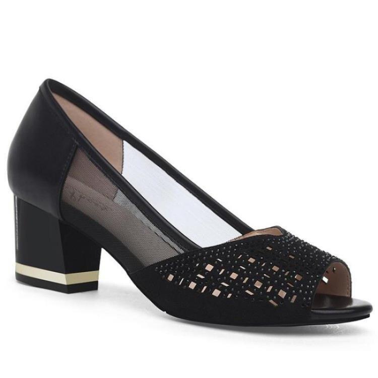 魚口鞋 2021新款春夏季魚嘴涼鞋女粗跟淺口鞋女士中跟魚嘴單鞋女高跟女鞋 果果輕時尚