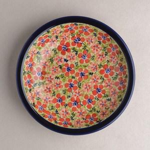 波蘭陶 繁花艷野系列 圓形深餐盤 22cm 波蘭手工製