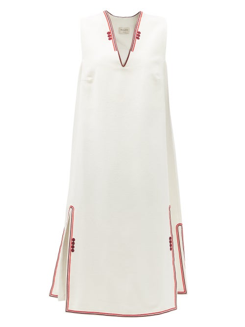 Zeus + Dione - Samos Embroidered Silk Dress - Womens - Ivory