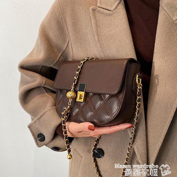 斜背包 高級質感小包包女2021新款潮時尚洋氣鍊條包小眾側背斜背包馬鞍包 曼慕