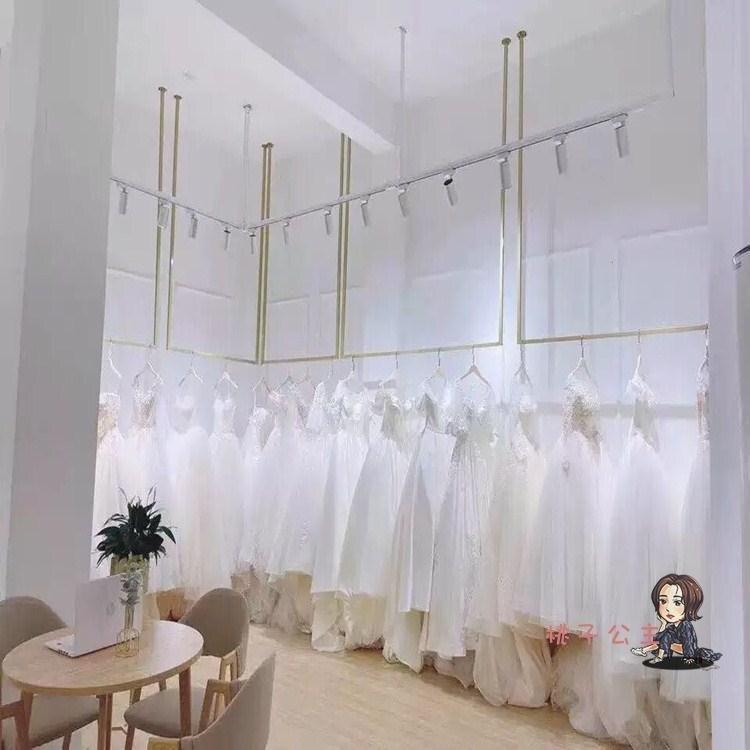 服裝吊架 金色婚紗吊架吊頂懸掛禮服陳列架子女裝店上牆服裝架子服裝展示架T