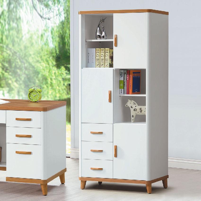 【79cm書櫥-E622-2】北歐工業 置物櫃 玻璃實木 書房書櫃書架 櫥櫃 層架收納整理 【金滿屋】