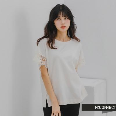 H:CONNECT 韓國品牌 女裝 -簍空花邊設計五分袖上衣-白色