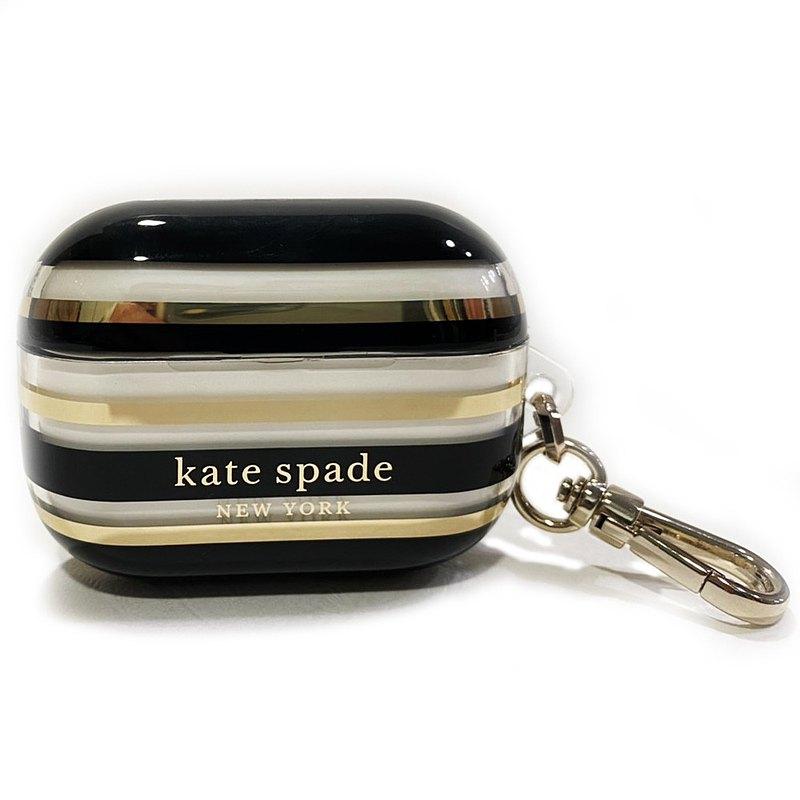 【KATE SPADE】AirPods Pro保護套-黑金時尚條紋 **送贈品