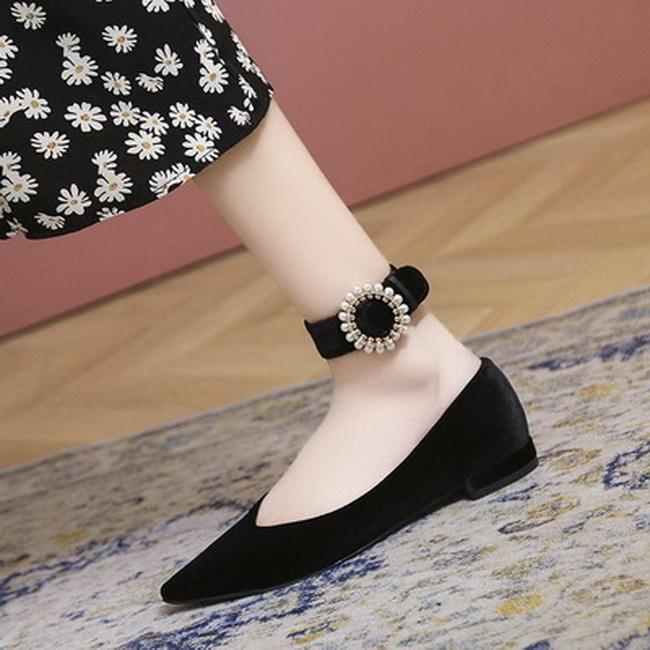 FOFU-氣質優雅淑女風珍珠小雛菊裝飾粗跟低跟樂福鞋【02S13623】