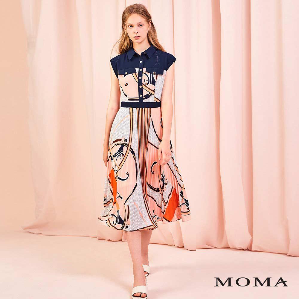 MOMA(01D078)抽象印花襯衫洋裝