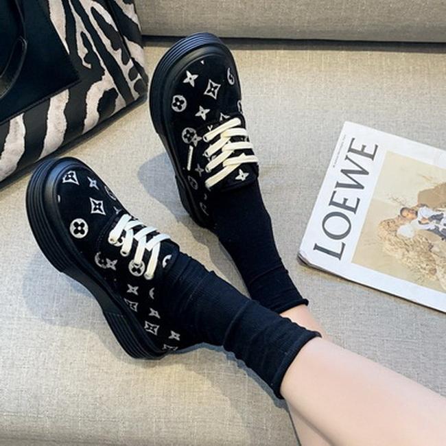 FOFU-小香風時尚logo平底平跟休閒鞋【02S13617】