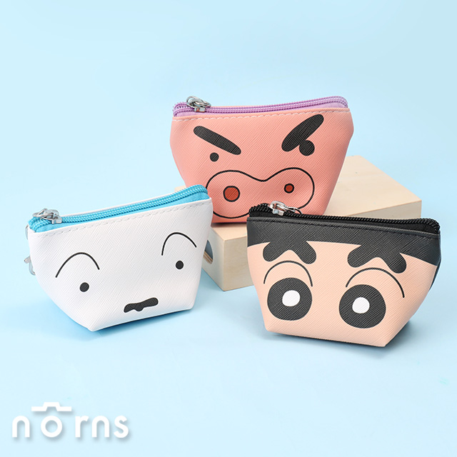 日貨蠟筆小新皮革T型零錢包 大臉系列- Norns 日本正版 船型收納包 小白 左衛門