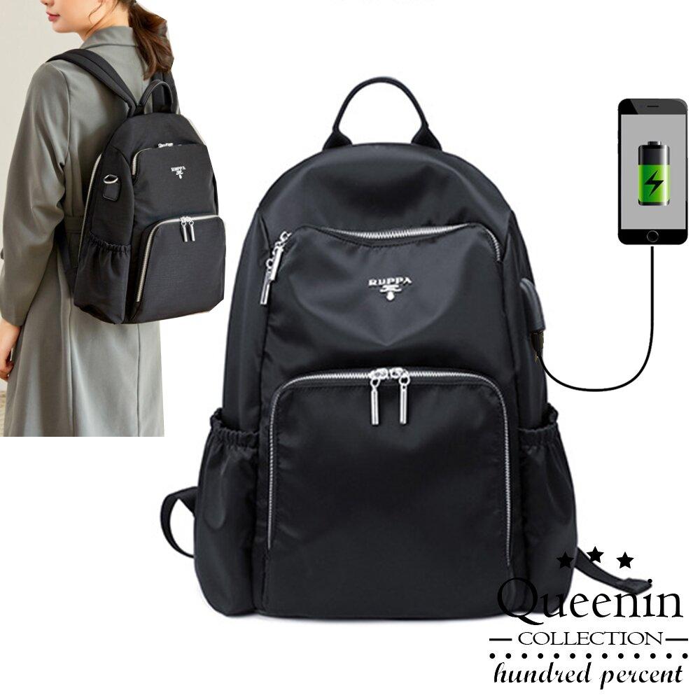 DF Queenin日韓 - 日系都會時尚USB充電輕量尼龍電腦後背包 -共3色