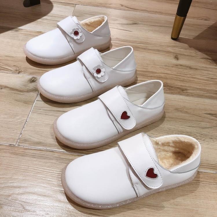 護士鞋女軟底2021新款夏季平底一腳蹬百搭豆豆單鞋孕婦小白鞋瓢鞋