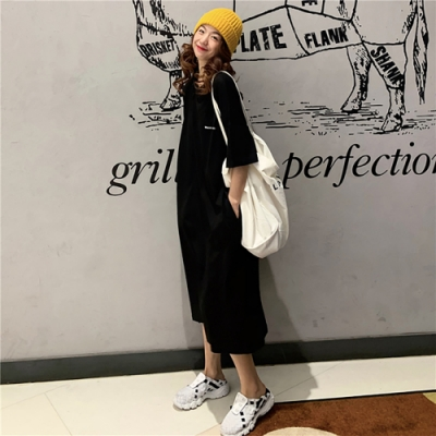 JILLI-KO 純色口袋棉質連衣裙- 黃/黑